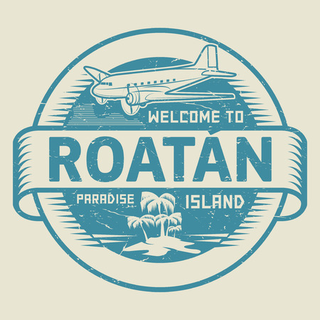 Stamp or label with the text Welcome to Roatan, Paradise island, vector illustration