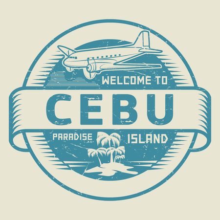 Stamp Or Label With The Text Welcome To Cebu Paradise Island