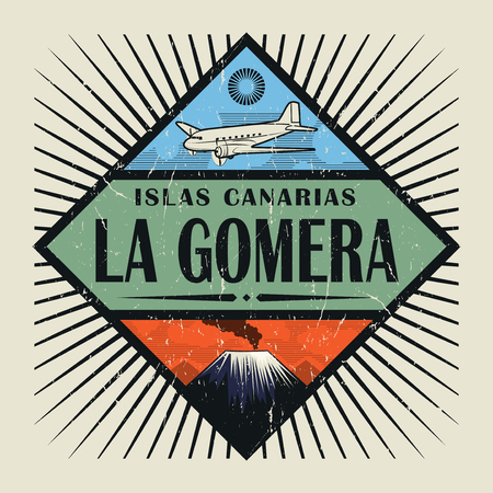 Stamp or vintage emblem with airplane, volcano and text La Gomera, Canary island (in spanish), vector illustration Illustration
