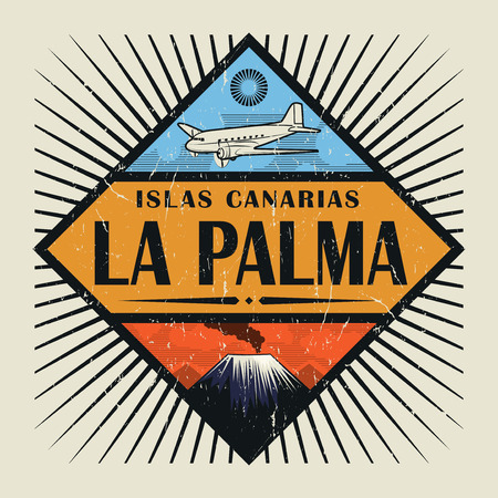 Stamp or vintage emblem with airplane, volcano and text La Palma, Canary island (in spanish), vector illustration
