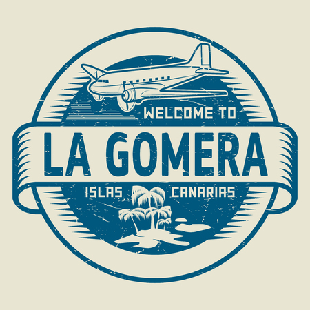 paradise beach: Stamp or label with the text Welcome to La Gomera, Canary Islands, vector illustration