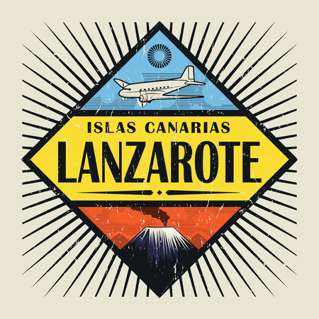 Stamp or vintage emblem with airplane, volcano and text Lanzarote, Canary island (in spanish), vector illustration
