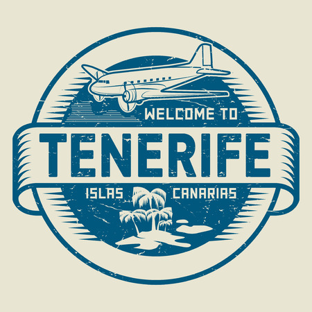 Stamp or label with the text Welcome to Tenerife, Canary Islands, vector illustration