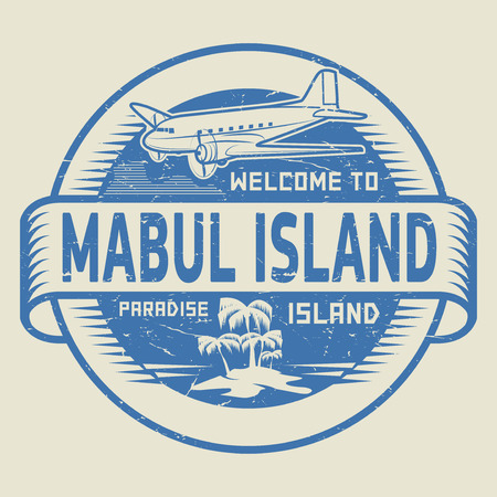island paradise: Stamp or label with the text Welcome to Mabul Island, Paradise island, vector illustration Illustration