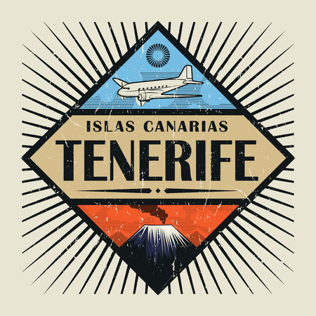 Stamp or vintage emblem with airplane, volcano and text Tenerife, Canary island (in spanish), vector illustration