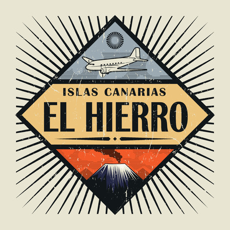 Stamp or vintage emblem with airplane, volcano and text El Hierro, Canary island (in spanish), vector illustration Illustration