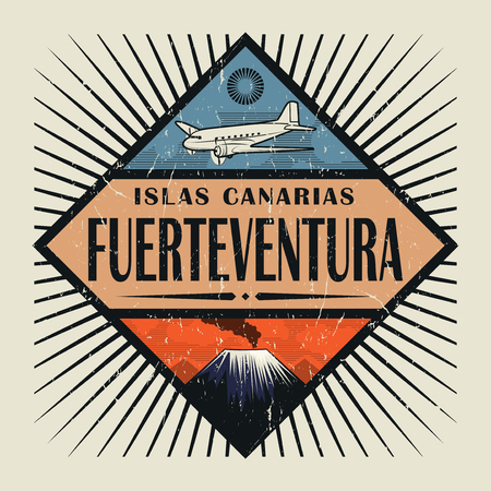 Stamp or vintage emblem with airplane, volcano and text Fuerteventura, Canary island (in spanish), vector illustration