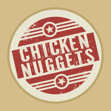 nuggets: Grunge abstract vintage stamp or label with text Chicken Nuggets, vector illustration