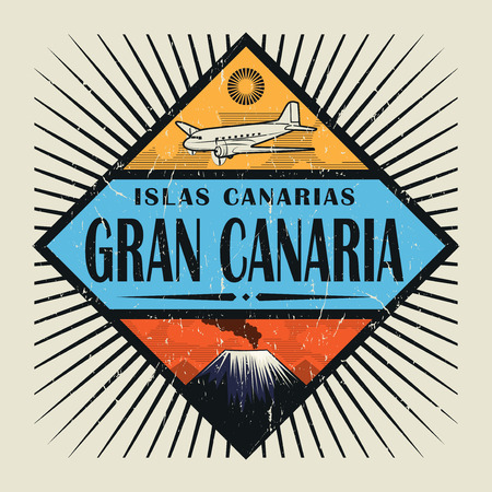 Stamp or vintage emblem with airplane, volcano and text Gran Canaria, Canary island (in spanish), vector illustration
