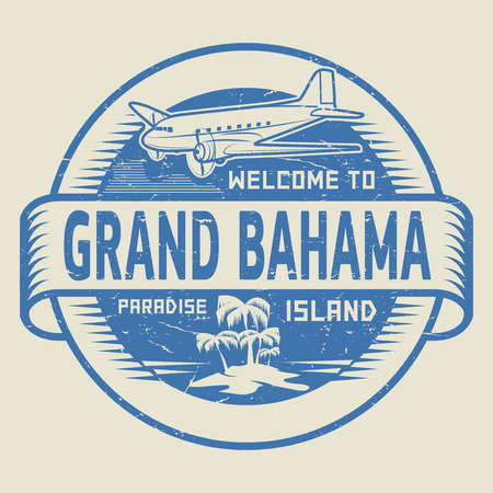 Stamp or label with the text Welcome to Grand Bahama, Paradise island, vector illustration