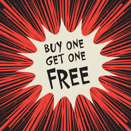 Comic explosion business concept with text Buy One Get One Free, vector illustration