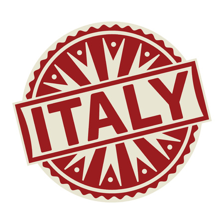 Stamp, label or tag business concept with the text Italy, vector illustration.