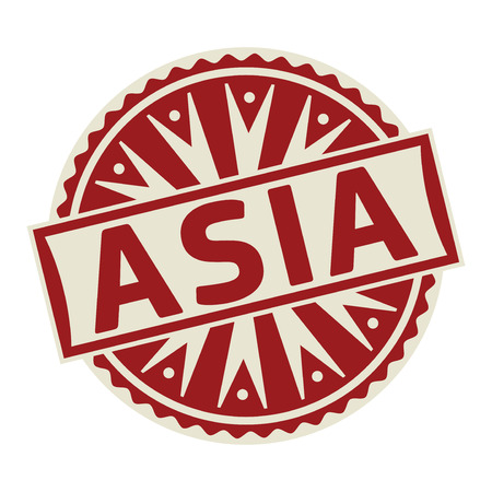 Stamp, label or tag business concept with the text Asia, vector illustration.