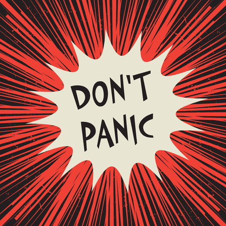 Comic explosion business concept poster with text Dont Panic, vector illustration