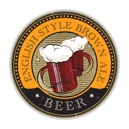 Grunge vintage style rubber stamp or label, with the Beer glass and text English-Style Brown Ale written inside, vector illustration