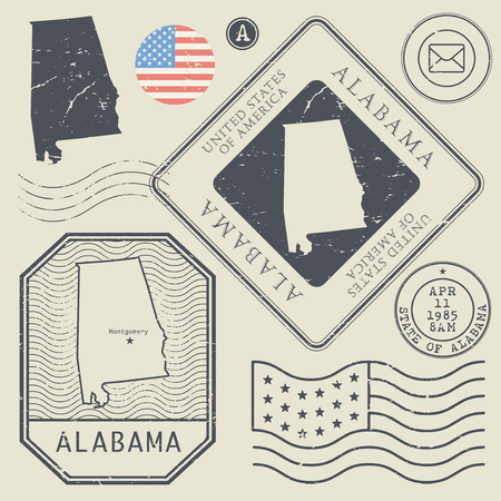 alabama flag: Retro vintage postage stamps set Alabama, United States theme, vector illustration Illustration