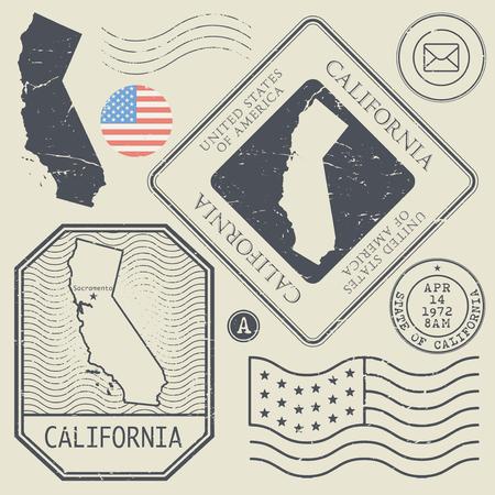 postage: Retro vintage postage stamps set California, United States theme, vector illustration