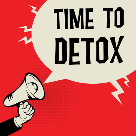resolution: Megaphone Hand business concept with text Time to Detox, vector illustration