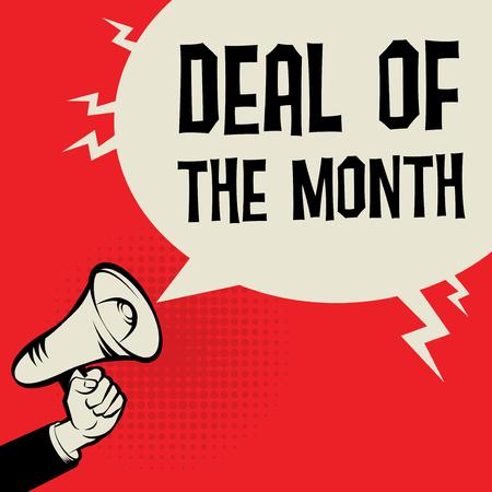Megafono concetto di business mano con il testo Deal del mese, illustrazione vettoriale