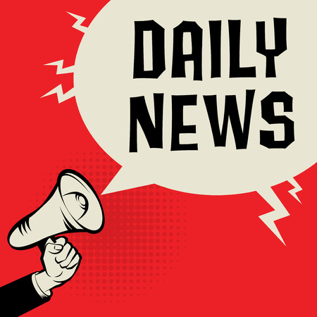 business news: Megaphone Hand business concept with text Daily News, vector illustration