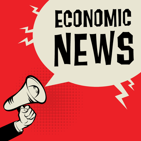 business news: Megaphone Hand business concept with text Economic News, vector illustration Illustration