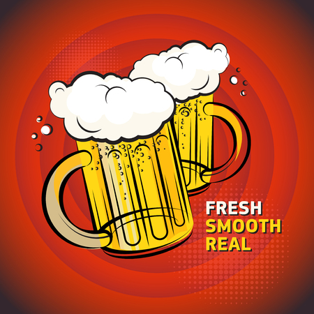 real ale: Poster or label, with the Two Beer glass and text Fresh, Smooth, Real written inside, vector illustration Illustration