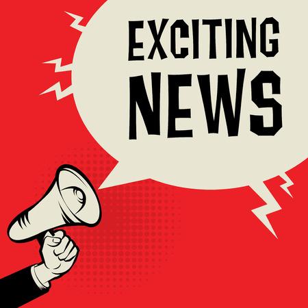 メガホン手ビジネス コンセプト本文エキサイティングなニュース、ベクトル イラスト  イラスト・ベクター素材
