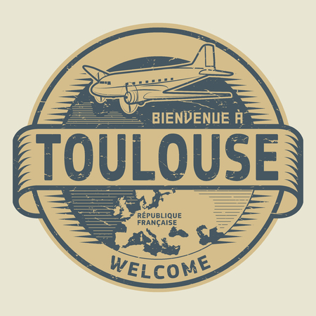 toulouse: Grunge rubber stamp or tag with airplane and text Welcome to Toulouse, French Republic (in french language), vector illustration