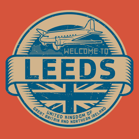 leeds: Grunge rubber stamp or tag with airplane and text Welcome to Leeds, United Kingdom, vector illustration