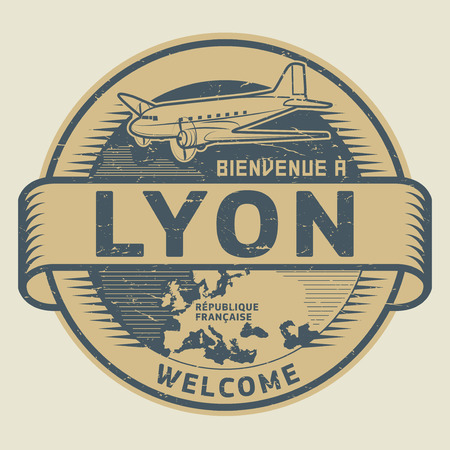 Grunge rubber stamp or tag with airplane and text Welcome to Lyon, French Republic (in french language), vector illustration