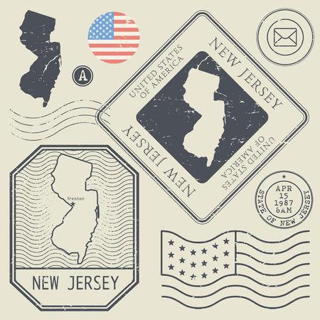 poststempel: Retro Vintage Briefmarken gesetzt New Jersey, Vereinigte Staaten Thema, Vektor-Illustration