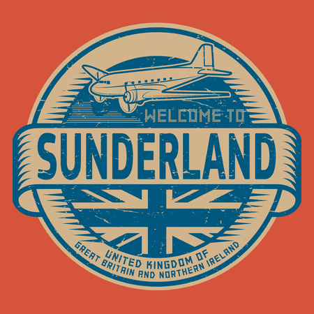 Grunge rubber stamp or tag with airplane and text Welcome to Sunderland, United Kingdom, vector illustration