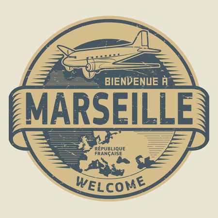 Grunge rubber stamp or tag with airplane and text Welcome to Marseille, French Republic (in french language), vector illustration