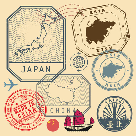 Travel stamps set with the text Asia, Japan, China, Made in China (in chinese language too), vector illustration Illustration