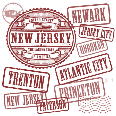 jersey city: Grunge rubber stamps set with names of cities in State of New Jersey, United States, vector illustration Illustration