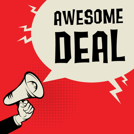 tremendous: Megaphone Hand business concept with text Awesome Deal, vector illustration