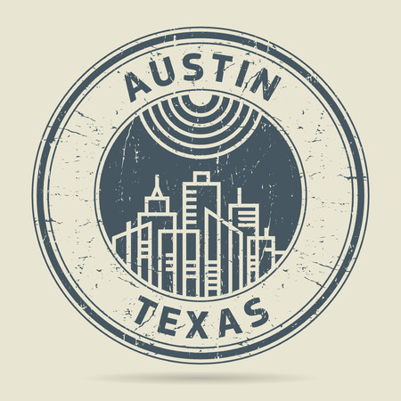 austin: Grunge rubber stamp or label with text Austin, Texas written inside, vector illustration