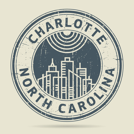 charlotte: Grunge rubber stamp or label with text Charlotte, North Carolina written inside, vector illustration