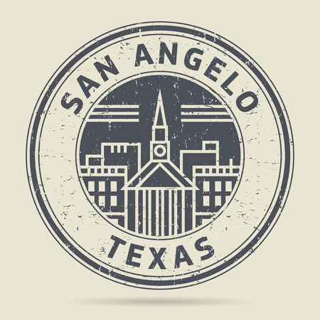 angelo: Grunge rubber stamp or label with text San Angelo, Texas written inside, vector illustration