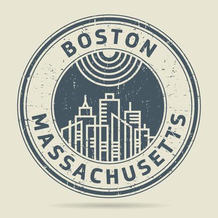Grunge rubber stamp or label with text Boston, Massachusetts written inside, vector illustration