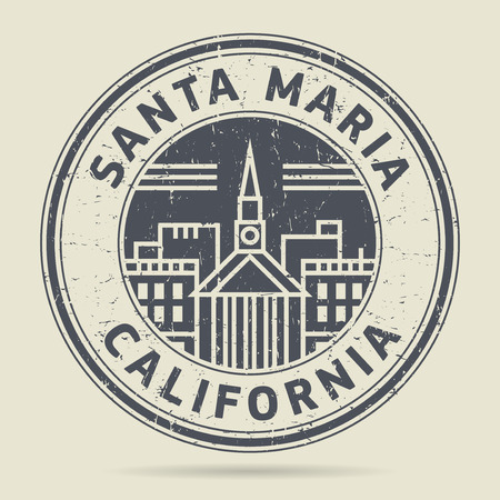maria: Grunge rubber stamp or label with text Santa Maria, California written inside, vector illustration Illustration