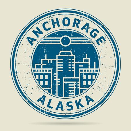 civilisation: Grunge rubber stamp or label with text Anchorage, Alaska written inside, vector illustration