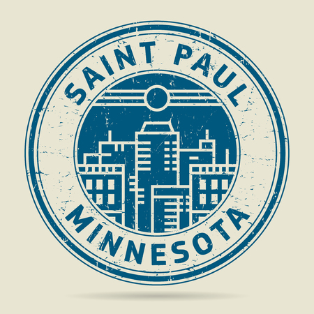 civilisation: Grunge rubber stamp or label with text Saint Paul, Minnesota written inside, vector illustration