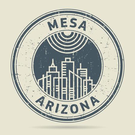civilisation: Grunge rubber stamp or label with text Mesa, Arizona written inside, vector illustration