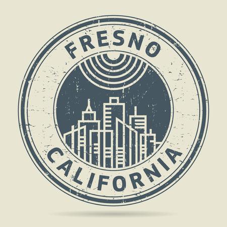 civilisation: Grunge rubber stamp or label with text Fresno, California written inside, vector illustration