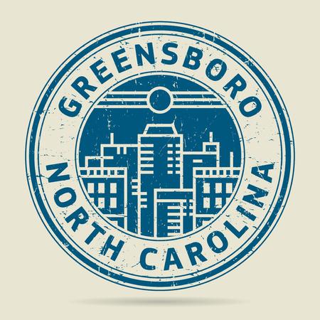 civilisation: Grunge rubber stamp or label with text Greensboro, North Carolina written inside, vector illustration Illustration