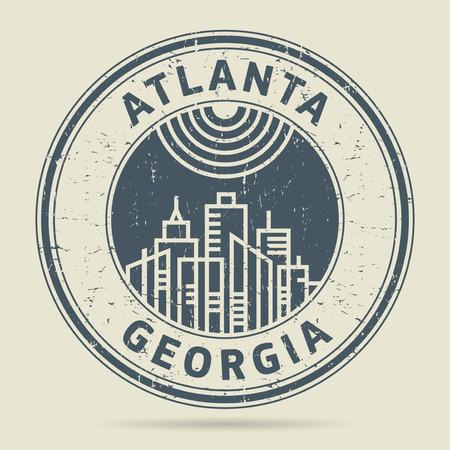 civilisation: Grunge rubber stamp or label with text Atlanta, Georgia written inside, vector illustration