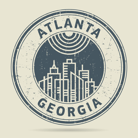 Grunge rubber stamp or label with text Atlanta, Georgia written inside, vector illustration