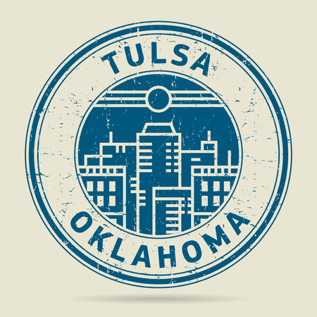 tulsa: Grunge rubber stamp or label with text Tulsa, Oklahoma written inside, vector illustration