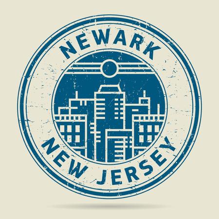 civilisation: Grunge rubber stamp or label with text Newark, New Jersey written inside, vector illustration Illustration